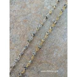 50 εκατ, 4 χλστ Χάντρα, Χειροποίητα Ροζάριο με Πέτρα Τυρκουαζ, Ασημί και Χρυσό