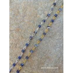 50 εκατ, 4 χλστ Χάντρα, Χειροποίητα Ροζάριο με Πέτρα Ιάσπις Μπλε, Ασημί και Χρυσό