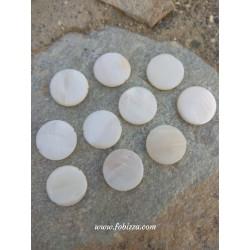 10 τεμ, 20 χλστ, Κέλυφος Κοχυλιού, Χάντρα, Λευκό