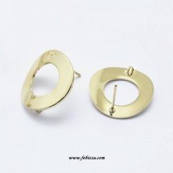 2 τεμ, 18 χλστ, Χαλκός, Σκουλαρίκι με Σύνδεσμο, Στρογγυλό, σε Χρυσό