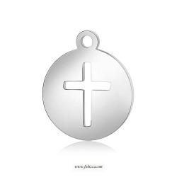 1 τεμ, 14 χλστ, 304 Ανοξείδωτο Ατσάλι , Σταυρός, Κρεμαστό, Στρογγυλό, Πλατίνα