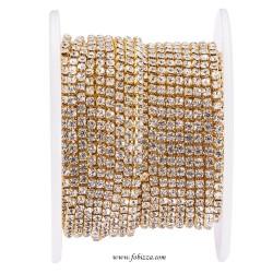 1 μέτρο, 2.5 χλστ, Αλυσίδα από Χαλκό με Τεχνητά Διαμαντάκια Ρητίνης, Χρυσό
