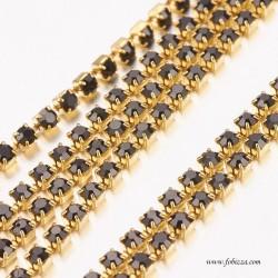1 μέτρο, 2 χλστ, Αλυσίδα από Χαλκό με Κρυσταλλάκια, Χρυσό