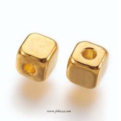 10 τεμ, 4 χλστ, Κράμα, Μεταλλική Χάντρα, Τετράγωνο, Χρυσό