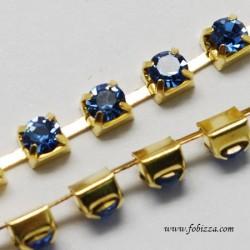 1 μέτρο, 2 χλστ, Αλυσίδα από Χαλκό με Κρυσταλλάκια, Χρυσή Βάση, Ζαφειρί
