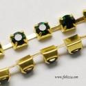 1 μέτρο, 2 χλστ, Αλυσίδα από Χαλκό με Κρυσταλλάκια, Χρυσή Βάση, Σμαράγδι