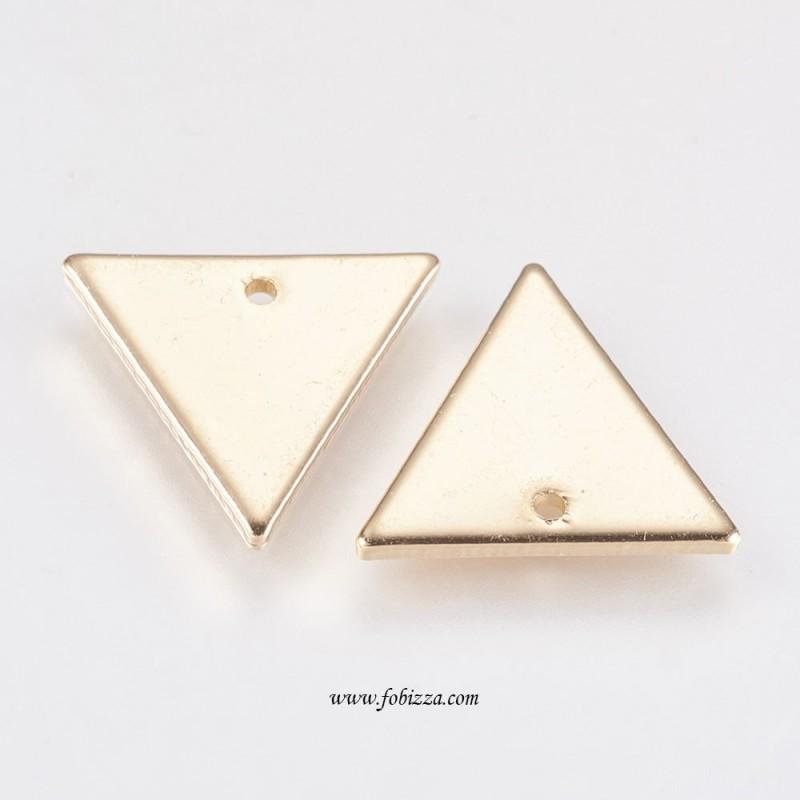 2 τεμ, 14 χλστ, Χαλκός Επιχρυσωμένος με 18Κ Χρυσό, Κρεμαστό, Τρίγωνο, Χρυσό