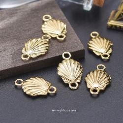 1 τεμ, 24 χλστ, Χαλκός Επιχρυσωμένος με 18Κ Χρυσό, Κοχύλι με 2 Συνδέσμους, Χρυσό