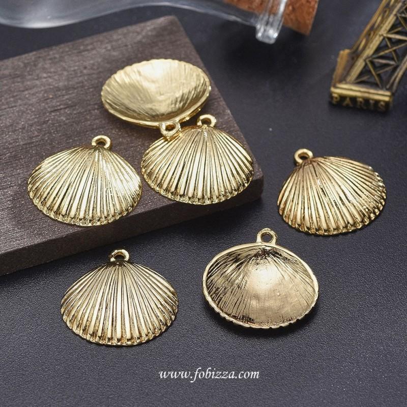 1 τεμ, 24 χλστ, Επιχρυσωμένος Χαλκός, Κρεμαστό, Κοχύλι, Χρυσό