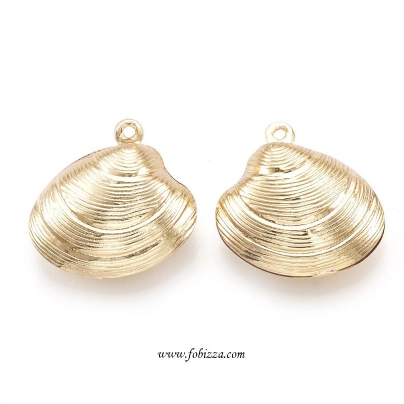 1 τεμ, 20 χλστ, Επιχρυσωμένος Χαλκός με 18Κ Χρυσό, Κρεμαστό, Κοχύλι, Χρυσό