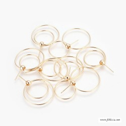 1 ζευγ, 27 χλστ, Επιχρυσωμένος Χαλκός με 18Κ Χρυσό, Καρφωτά Σκουλαρίκια, Κύκλοι, Χρυσό