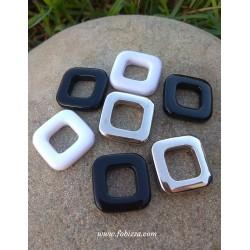 5 τεμ, 25 χλστ, Ακρυλικό, Χάντρα Ρόμβος σε Μαύρο, Ασπρο και Ασημί