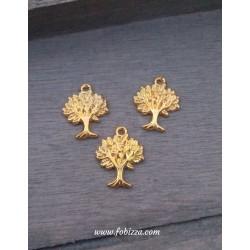 1 τεμ, 24 χλστ, Μεταλλικό, Δέντρο της Ζωής, Κρεμαστό με Μαύρα Τεχνητά Διαμαντάκια, Στρογγυλό, Χρυσό