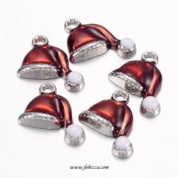 1 τεμ, 17 χλστ, Χαλκός με Σμάλτο, Χριστουγεννιάτικο Καπέλο, Κρεμαστό, Κόκκινο με Ασημι Βάση