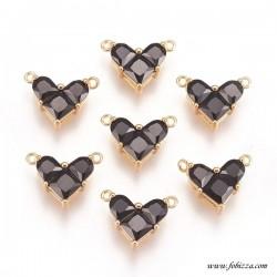 1 τεμ, 12 χλστ, Χαλκός Επιχρυσωμένος με 18Κ Χρυσό και Ζιρκόν, Καρδιά, 2 Συνδέσμους, Μαύρο με Χρυσή Βάση