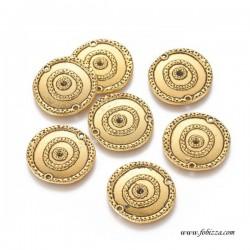 2 τεμ, 22 χλστ, Μεταλλικό, Στρογγυλό, 2 τρύπες, Χρυσό Αντίκας