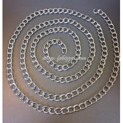 Αλυσλιδα Αλουμινίου, οξειδωμένα σε ασήμι, μέγεθος 4x5.2mm