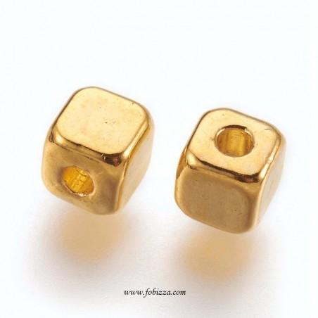 10 τεμ, 3 χλστ, Κράμα, Μεταλλική Χάντρα, Τετράγωνο, Χρυσό
