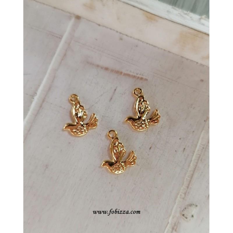 2 τεμ, 13 χλστ, Ορείχαλκος, Πουλιά, Κρεμαστό, Χρυσό