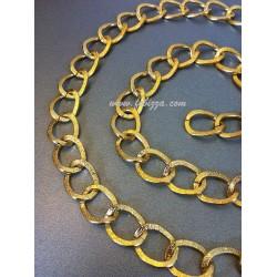 Αλουμινίου στριφτή αλυσίδα με χαλιναγώγηση, χρυσό, μέγεθος: 15mmx20mm