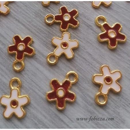 5 τεμ, 13 χλστ. Μεταλλικά με Σμάλτο, Λουλούδι, Κρεμαστό, Χρυσή Βάση, Κόκκινα και Άσπρα