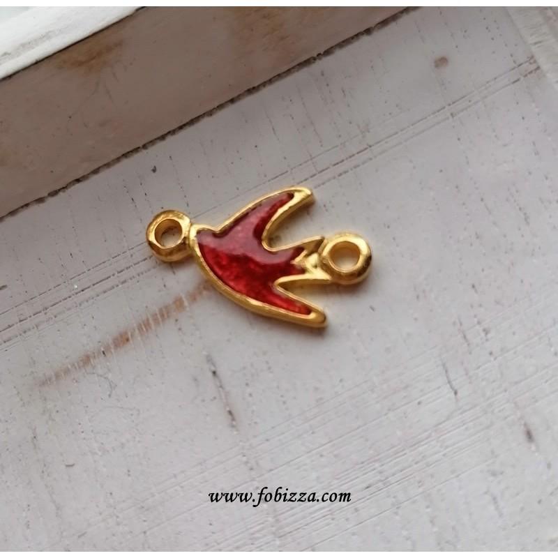 1 τεμ, 17x12 χλστ, Ορείχαλκος με Κοκκινο Σμάλτο, Χελιδόνι, 2 Συνδέσμους, Χρυσό