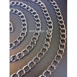 1μ, 18x13x2.5 χλστ, Αλουμίνιο, Στριφτή Αλυσίδα με χαλιναγώγηση, Μεγάλο μέγεθος, Οξυδωμένη σε Ασημί