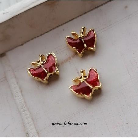 2 τεμ, 10x8 χλστ, Πεταλούδες με Κόκκινο Σμάλτο, Χάντρα, Χρυσή Βάση