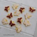 2 τεμ, 13x10 χλστ, Πεταλούδες Κόκκινο και Άσπρο Σμάλτο, Κρεμαστό, Χρυσή Βάση
