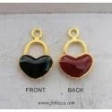 1 τεμ, 18 χλστ, Χαλκός με Σμάλτο, Καρδιά Λουκετάκι, Χρυσή Βάση, Κόκκινο-Μαύρο