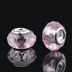 2 τεμ, 14 χλστ, Γυάλινες Χάντρα, Πολύγωνες με Ασημί Βάση, Ροζ