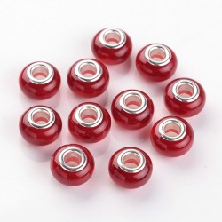 2 τεμ, 13 χλστ, Χάντρες με Ρητίνη σε Ασημί Βάση, Κόκκινο