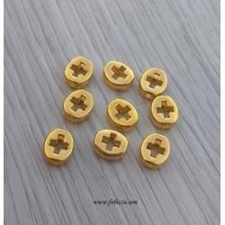 10 τεμ, 8 χλστ, Ορείχαλκος, Σταυρός, Χάντρα, Χρυσό