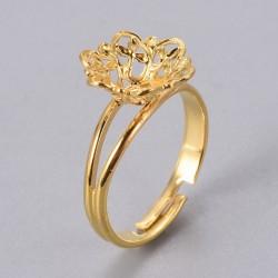 2 τεμ, 17x3 χλστ, 8 χλστ Δίσκος, Δαχτυλίδι από Χαλκό, Ρυθμιζόμενο, Εξάρτημα Βάση, Χρυσό