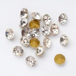 50 τεμ, 5 χλστ, Κρυστάλλινα Τεχνητά Διαμάντια, Πολύπλευροι Κώνοι, Επιμετάλλωση στο πίσω μέρος, Διαφανές