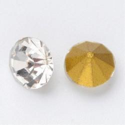 50 τεμ, 6 χλστ, Κρυστάλλινα Τεχνητά Διαμάντια, Πολύπλευροι Κώνοι, Επιμετάλλωση στο πίσω μέρος, Διαφανές