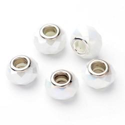 2 τεμ, 14 χλστ, Γυάλινες Χάντρες, Πολύγωνες με Ασημί Βάση, Λευκό