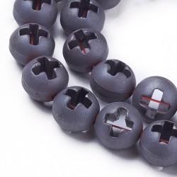 2 τεμ, 10 χλστ, Συνθετικός Αιματίτης Χάντρες, Σταυρό, Ασημί Ματ
