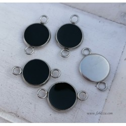 2 τεμ, 19x12 χλστ, 304 Ανοξειδωτο Ατσάλι με Σμάλτο, Καστόνια με 2 Συνδέσμους, Ατσάλινο Χρώμα Βάση, Μαύρο και Λευκό