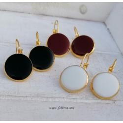 1 ζευ, 16 χλστ. Χαλκός, Σκουλαρίκια, Χρυσή Βάση, σε Λευκό, Μαύρο και Κόκκινο
