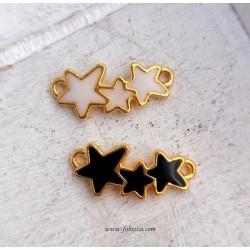 1 τεμ, 24 χλστ, Αστερίας Με Τυρκουάζ Πέτρες σε Ανοιχτό Χρυσό, 2 σύνδεσμοι
