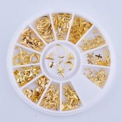 140 τεμ, 8 χλστ, 3D Μεταλλικά Διακοσμητικά για DIY Τεχνητά Νύχια, Μικτό Σχήμα, Χρυσά