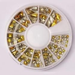 200 τεμ, 2~6 χλστ, Στρασάκια με Μεταλλική Βάση για DIY Τεχνητά Νύχια, Μικτό Σχήμα, Χρυσό