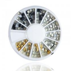 140 τεμ, 3 χλστ, Μεταλλικα Τετράγωνα για DIY Τεχνητά Νύχια, Μικτό Χρώμα