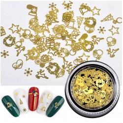120 τεμ/box, 3~8 χλστ, Μεταλλικά Στοιχεία, Χριστούγεννιατικο Θέμα, Διακοσμητικά για DIY Τεχνητά Νύχια, Μικτό Σχήμα, Χρυσά