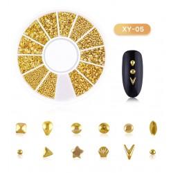 200 τεμ, 2~8 χλστ, Μεταλλικά Διακοσμητικά για DIY Τεχνητά Νύχια, Μικτό Σχήμα, Χρυσά