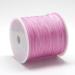 100 μέτρ. ή 1 μετρ, 0.8 χλστ πάχος, Μακραμέ Κερωμένο Σχοινί σε Σκούρο Ροζ