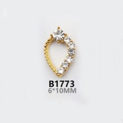 2 τεμ, 10 χλστ, Μεταλλικό με Διαμαντάκια για DIY Τεχνητά Νύχια, Δάκρυ, Χρυσό