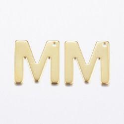 """2 τεμ, 11x10 χλστ, 304 Ανοξείδωτο Ατσάλι, Γράμμα """"Μ"""", Κρεμαστό, Χρυσό"""