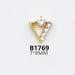 2 τεμ, 8 χλστ, Μεταλλικό με Διαμαντάκια για DIY Τεχνητά Νύχια, Τρίγωνο, σε Χρυσό και Ασημί